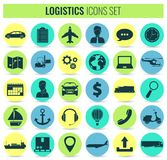 Logistics icons set. Delivery and Transportation. Silhouettes. Vector Stock Images