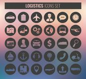 Logistics icons set. Delivery and Transportation. Silhouettes. Vector Royalty Free Stock Image