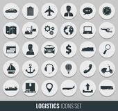 Logistics icons set. Delivery and Transportation. Silhouettes. Vector Stock Photos