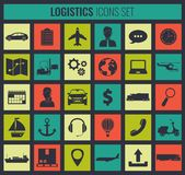 Logistics icons set. Delivery and Transportation. Silhouettes. Vector Stock Image