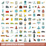100 logistics icons set, flat style. 100 logistics icons set in flat style for any design vector illustration Stock Illustration