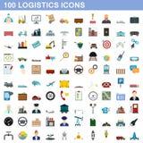 100 logistics icons set, flat style. 100 logistics icons set in flat style for any design illustration stock illustration
