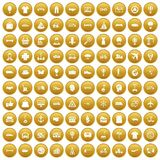 100 logistics icons set gold. 100 logistics icons set in gold circle isolated on white vector illustration Royalty Free Stock Photography