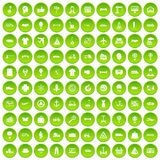 100 logistics icons set green. 100 logistics icons set in green circle isolated on white vectr illustration Stock Illustration