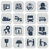 Logistics icons set on grey background royalty free illustration