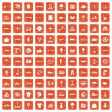 100 logistics icons set grunge orange. 100 logistics icons set in grunge style orange color isolated on white background vector illustration royalty free illustration