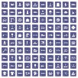 100 logistics icons set grunge sapphire. 100 logistics icons set in grunge style sapphire color isolated on white background vector illustration stock illustration