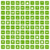 100 logistics icons set grunge green. 100 logistics icons set in grunge style green color isolated on white background vector illustration Stock Illustration