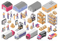 Logistics Icons Set. Logistics isometric icons set with cargo symbols vector illustration stock illustration