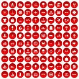 100 logistics icons set red. 100 logistics icons set in red circle isolated on white vector illustration Stock Photo