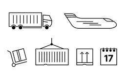 Logistics icons set. Truck and shipping, cargo, transport Stock Photography