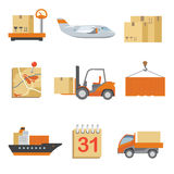 Logistics icons set in vintage flat style Royalty Free Stock Images