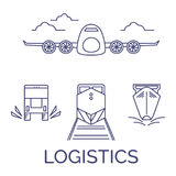 Logistics icons vector set. Logistics line icons vector set. Airplane, truck, train and ship Stock Image