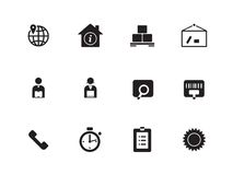 Logistics icons on white background. Stock Photos