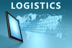 Logistics. Illustration with tablet computer on blue background Royalty Free Stock Image