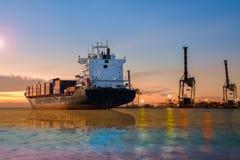 Cargo ship sailing in the sea stock image