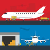 Logistics infographic banner set. Flat vector. Logistic Infographics banners set for Web or Mobile aplication. Process of Delivery abstract goods in airport stock illustration