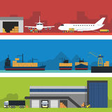 Logistics infographic banner set. Flat vector. Logistic Infographics banners set for Web or Mobile aplication. Process of Delivery abstract goods by airport Royalty Free Stock Image