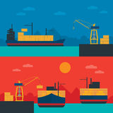 Logistics infographic banner set. Flat vector. Logistic Infographics banners set for Web or Mobile aplication. Process of Delivery abstract goods in sea port stock illustration