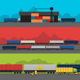 Logistics infographic banner set. Flat vector. Logistic Infographics banners set for Web or Mobile aplication. Process of Delivery abstract goods by rail. Flat Stock Photo