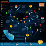 Logistics infographic of cargo ships with route of delivery. World map America. Stock Photo