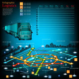 Logistics infographic with lines of delivery on city map. Topography simbols, timetable on week Stock Photos