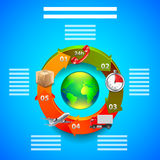 Logistics infographics, objects in arrows around earth globe. On blue background Stock Images