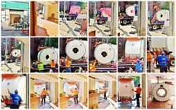 Logistics and installation of mri camera  collage Stock Photos