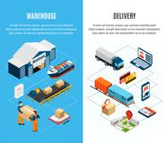 Logistics Isometric Banners Stock Photos