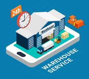 Logistics Isometric Concept. With warehouse building fork truck and cargo on blue background 3d vector illustration Stock Photos