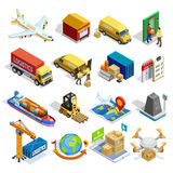Logistics Isometric Icons Set. Of different transportation distribution vehicles and delivery elements isolated vector illustration Stock Photos