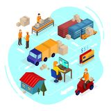 Logistics isometric illustration. Isometric vector delivery info stock illustration