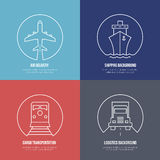 Logistics line icons. Airmail cargo transportation. Logistics line icons. Airmail and cargo transportation, delivery and shipping. Freight business, express send Royalty Free Stock Photos
