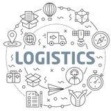 Logistics Linear illustration slide for the presentation Stock Images