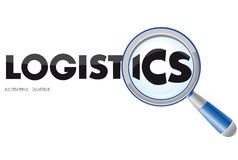 Logistics logo. Word of logistics under the magnifying glass Royalty Free Stock Photography