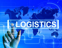 Logistics Map Displays Logistical Strategies and International P Stock Images