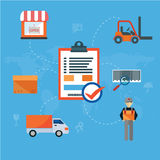 Logistics packing process delivery services isolated vector illustration Royalty Free Stock Image