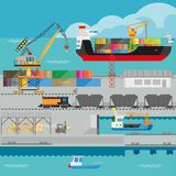 Logistics in port shipping infographics vector template. Logistics in port infographics template. Flat illustration of seaport marine shipment process and Royalty Free Stock Image