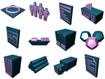 Logistics Process Icons For Su. Logistic supply chain buildings in a set royalty free illustration