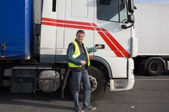 Logistics - proud driver Stock Photos