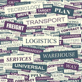 LOGISTICS. Seamless pattern. Concept related words in tag cloud. Conceptual info-text graphic. Word collage Stock Images