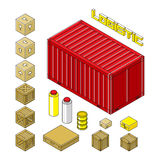 Logistics set in 3d isometric style. Cargo container, carton packaging box, pallet, res container, wooden crates, metal barrel, bagful isolated on white Royalty Free Stock Image