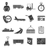Logistics set of vector icons. Delivery icons in black simple style. Royalty Free Stock Photo