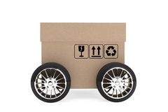 Logistics, Shipping and Delivery concept. Cardboard box with whe Stock Photography