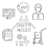 Logistics, shipping and delivery icons sketches. Logistics, shipping and delivery icons with call operator, 24 hours in 7 days customer service sign, navigation Stock Photography