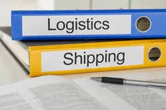 Logistics and Shipping. Folders with the label Logistics and Shipping Stock Images