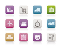 Logistics, shipping and transportation icons Stock Photos