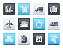 Logistics, shipping and transportation icons over color background stock illustration