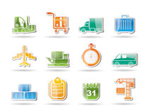 Logistics, shipping and transportation objects vector illustration