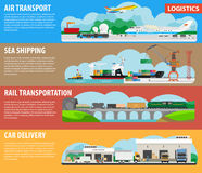 Logistics and shipping types infographics vector template banners Royalty Free Stock Photography